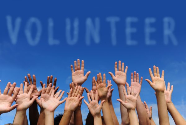 Volunteers' Hands Raised